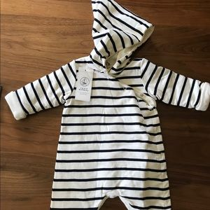 Petit Bateau Hooded All In One in Stripes